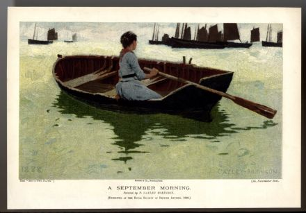 1893 Antique Print F. CAYLEY ROBINSON Colour Lithograph SAILING BARGES Boat LADY